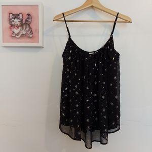 Gap Black and Gold Star Chiffon Tank top